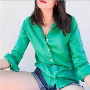 J. Crew Perfect Collared Button Down Shirt Green